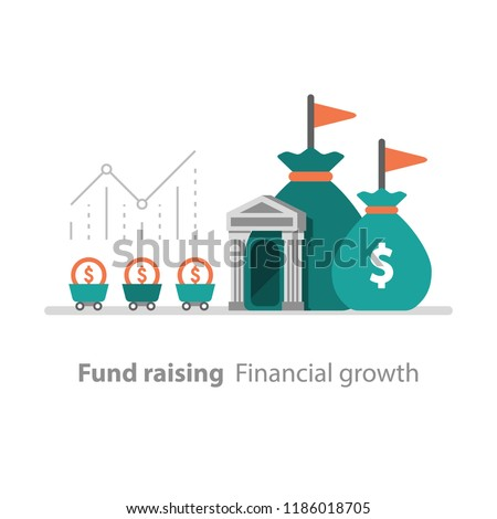 Fund raising, financial growth, bank services, revenue increase, productivity graph, interest rate, pension savings account, superannuation concept, earn money, return on investment, mutual fund