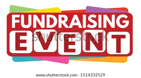 Fundraising event label or sticker on white background, vector illustration