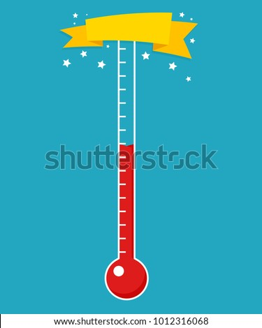 Fundraising thermometer template. Vector image isolated on white background