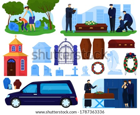 Funeral burial cemetery death ceremony vector illustration set. Cartoon flat sad people, ceremonial hearse car vehicle, coffin with dead person and wreath, tombstone burial grave isolated on white Foto stock ©