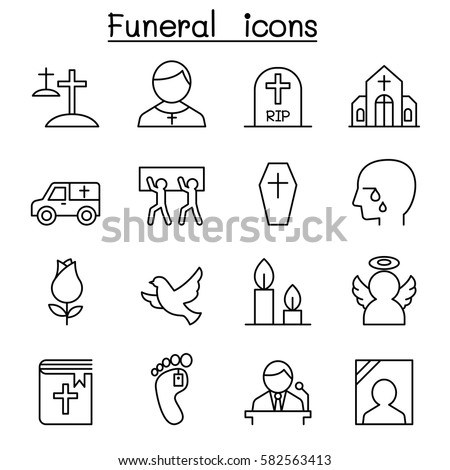 funeral   burial icon set in