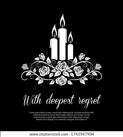 Funeral card vector template, monochrome burning candles and rose flower ornament. Vintage condolence funeral card with deepest regret typography. Obituary memorial, remembrance retro funeral poster