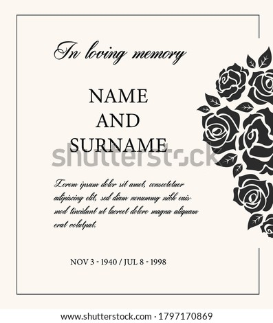 Funeral card vector template, vintage condolence obituary with typography in loving memory and vintage rose flowers, place for name, birth and death dates. Mourning memorial, funereal card Photo stock ©
