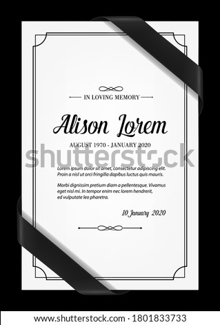Funeral card vector template with black frame, mourning ribbons in corners, place for name, birth and death dates. Obituary memorial, condolence funeral card design, in loving memory typography