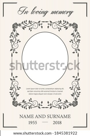 Funeral card vector template with oval frame for photo, condolence rose flowers, leaves flourishes, place for name, birth and death dates. Obituary memorial, funereal card, in loving memory typography