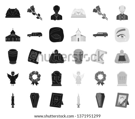 Funeral ceremony black.mono icons in set collection for design. Funerals and Attributes vector symbol stock web illustration.