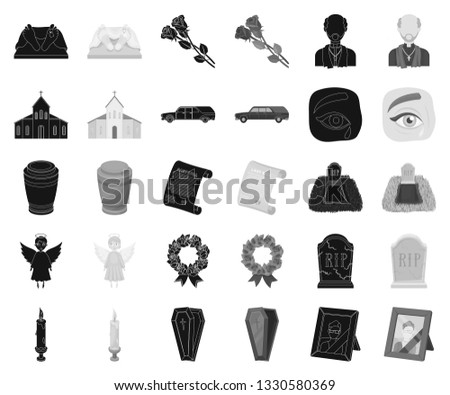 Funeral ceremony black,monochrome icons in set collection for design. Funerals and Attributes vector symbol stock web illustration.