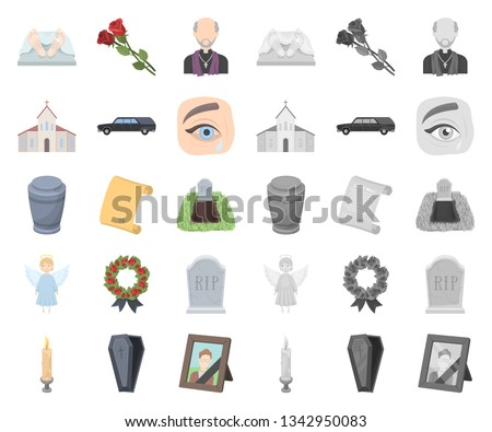 Funeral ceremony cartoon,mono icons in set collection for design. Funerals and Attributes vector symbol stock web illustration.