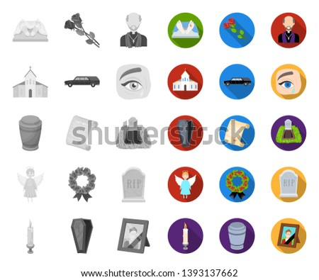 Funeral ceremony mono,flat icons in set collection for design. Funerals and Attributes vector symbol stock web illustration.