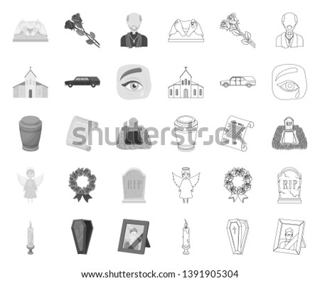 Funeral ceremony mono,outline icons in set collection for design. Funerals and Attributes vector symbol stock web illustration.