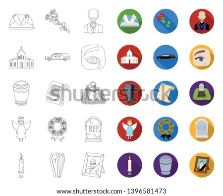 Funeral ceremony outline,flat icons in set collection  design. Funerals and Attributes vector symbol stock web illustration.