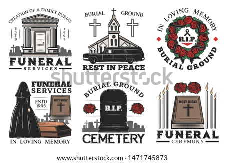 funeral ceremony vector icons