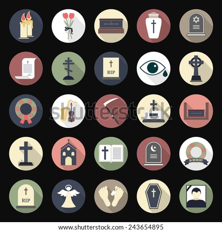 funeral icons in flat style on
