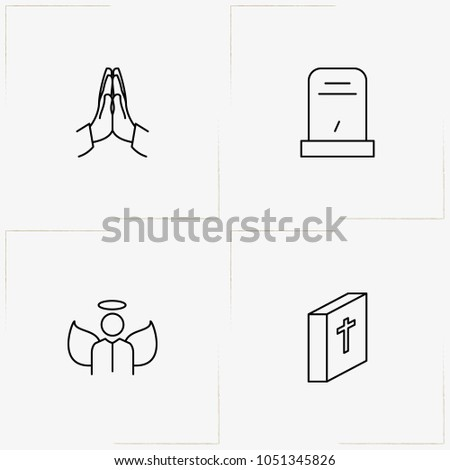 funeral line icon set with