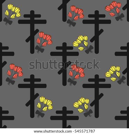 Funeral pattern with rood and tulips on a gray background. Mourning.