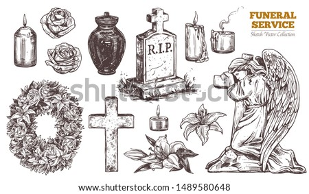 Funeral service vector hand drawn set. Attributes and symbols of condolence, loss, dead, bereavement and cemetry. Sketch of vintage stone angel, tombstone, urn, cross, resurrection Stock photo ©