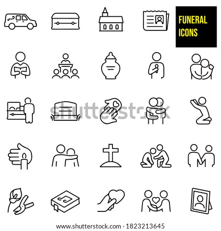funeral thin line icons