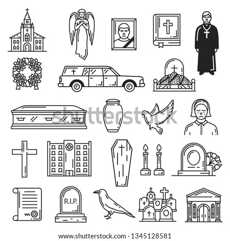 funeral vector icons  burial