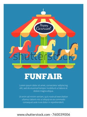 Funfair advertisement poster with colorful childish carousel with revolting horses. Vector illustration bright rotating horses attraction on blue