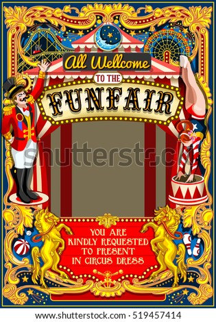 Funfair Circus tent artist show carousel Frame Poster Invite Kid game Birthday Party Amusement Park. Carnival Background Design Masquerade Fair Cabaret Vintage Vector Illustration Crazy People theme