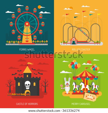 funfair design concept set with
