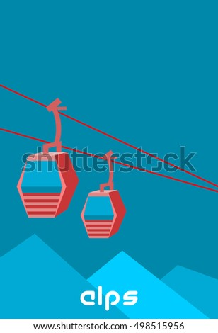 funicular over mountains and