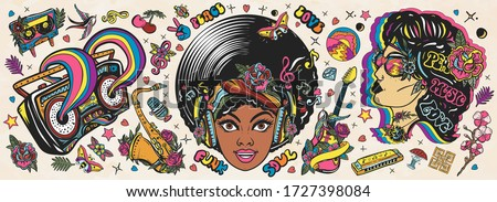 Funk music. Old school tattoo vector collection. African American young funky woman. Soul party hippie girl, saxophone, guitar and retro rainbow boom box. Traditional musical tattooing style ストックフォト ©