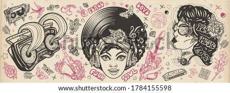 Funk music. Old school tattoo vector collection. Soul party hippie girl, saxophone, guitar and retro rainbow boom box. African American young funky woman. Traditional musical tattooing style