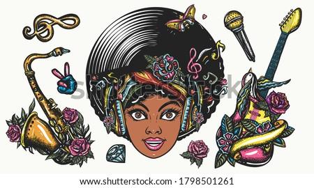 funk music set color graphics