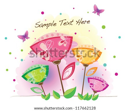 funky background series (floral with patterns) - stock vector