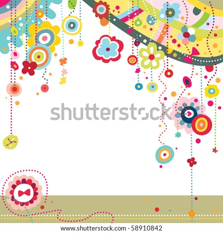 Funky background with colorful shapes and flowers.