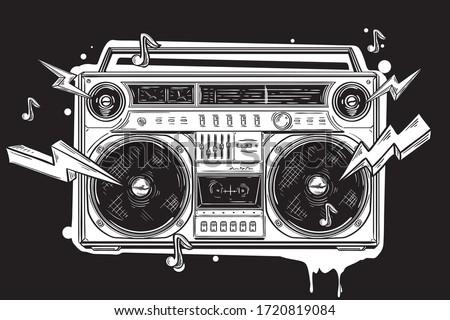 Funky black and white drawn boom box  graffiti Stockfoto ©