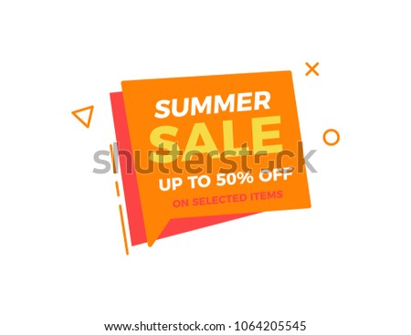 Funky box bubble geometric shape with Summer Sale text. Vector illustration design for business, sales and commerce. Vivid orange and red colors