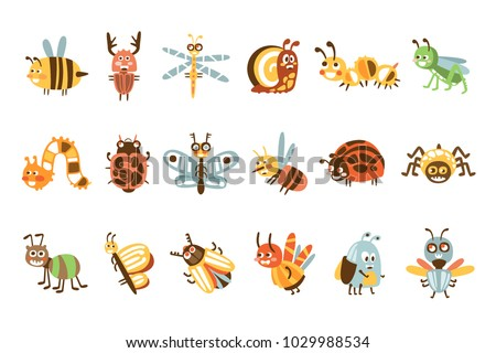 funky bugs and insects set of
