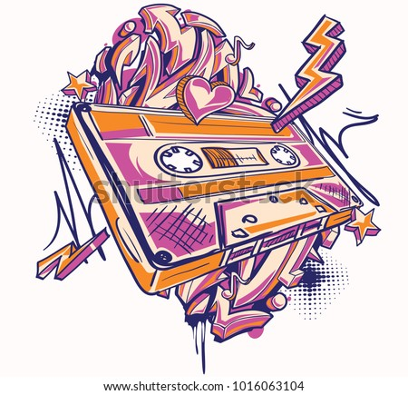 funky colorful audio cassette