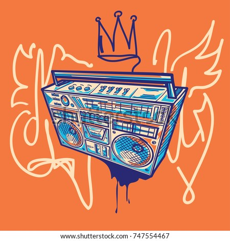 funky colorful boom box on