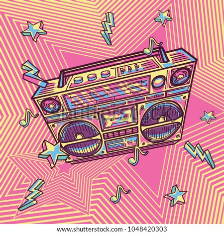 Funky colorful drawn boom box