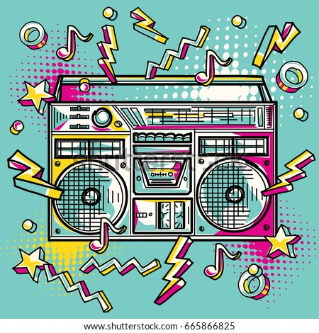 Funky colorful drawn boom box