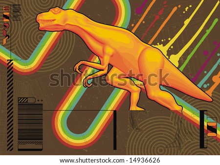 Funky design featuring a bright orange Tyrannosaurus Rex.