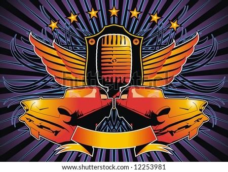 Funky design featuring a shield, microphone and retro American cars.