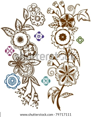 Funky Folk Art Flowers.  Inspired by Hungarian tole painting