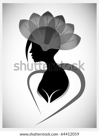 funky girl hairstyles. stock vector : Funky girl