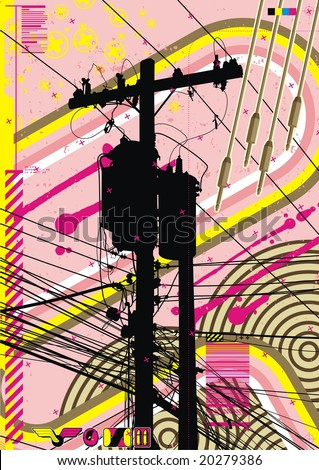 Funky graphic a featuring telephone pole radiating a mass of wires.