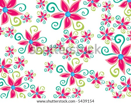 stock vector funky groovy daisy flower pattern on white vector