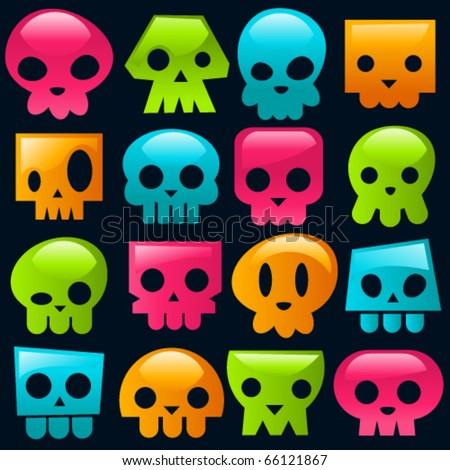funky gummy colorful skulls