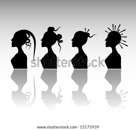stock vector : Funky Hairstyle Set 6.