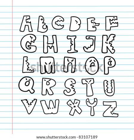 funky kid alphabet set