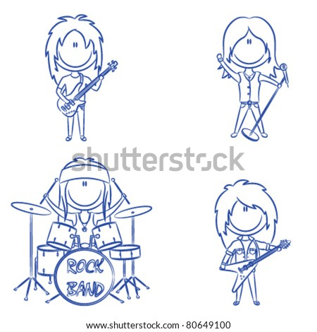Funky kid's rock band isolated on white background