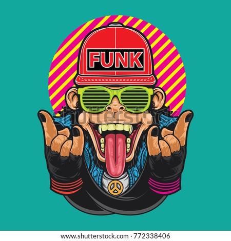 Funky monkey vector illustration design.