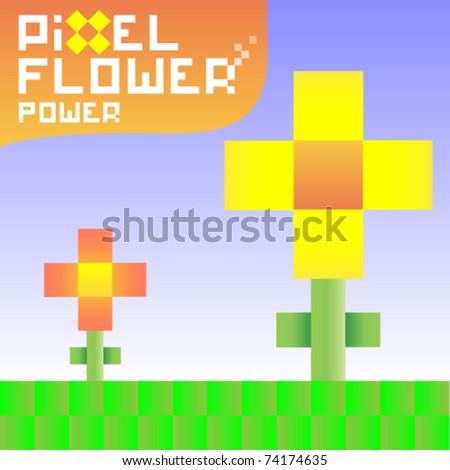 funky pixel flowers